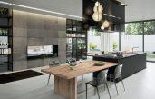 Moderne Küche Mit Kochinsel Und Esszimmer