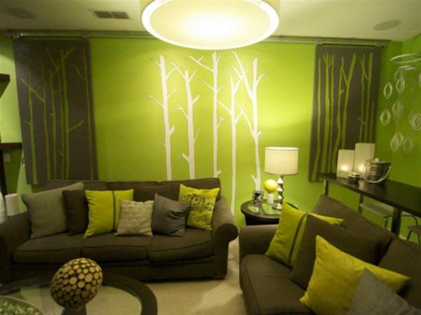 Natur Wand Im Wohnzimmer Modern On Beabsichtigt Coole Farben Für Grün Tatto KMA 7