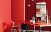 Rote Wand Esszimmer