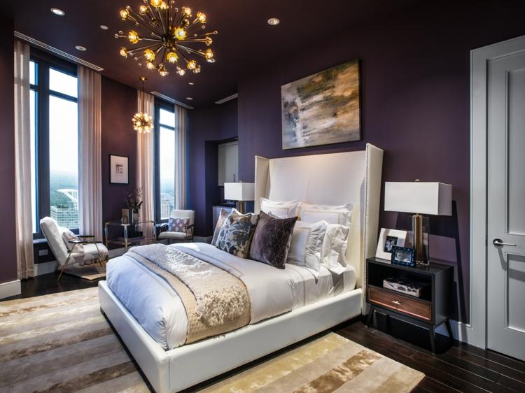 Schlafzimmer Lila Wand Interessant On Für Farbgestaltung Das Geheimnisvolle 9