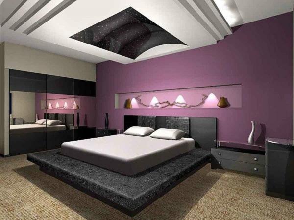Schlafzimmer Lila Wand Nett On In Bezug Auf Wandgestaltung 3