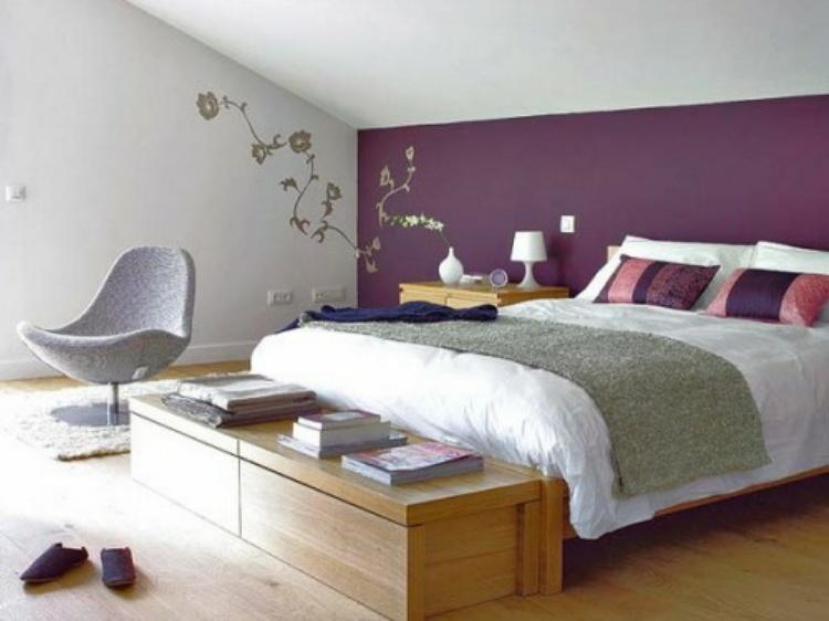 Schlafzimmer Lila Wand Unglaublich On Für Wandtattoo 2