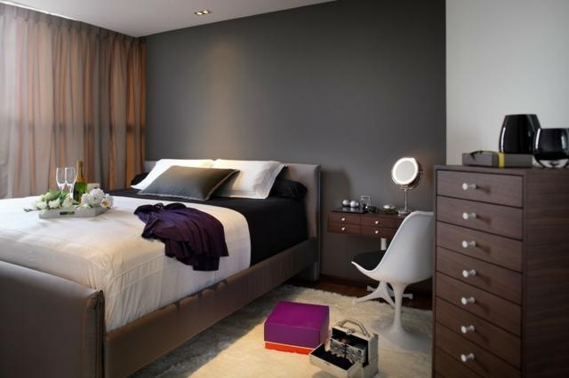 Schlafzimmer Wand Grau Schön On Innerhalb Wandfarbe Im 77 Gestaltungsideen 7