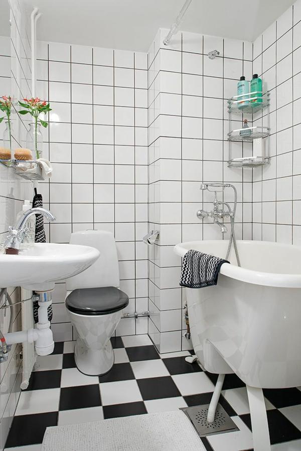 Schwarz Weiß Fliesen Bad Kreativ On Andere Auf Kleines Helle Lassen Ihr Größer Erscheinen 9