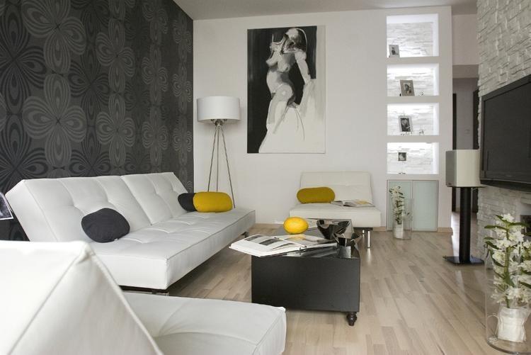 Tapeten Für Wohnzimmer Mit Weißen Hochglanz Möbeln Bescheiden On Und 1