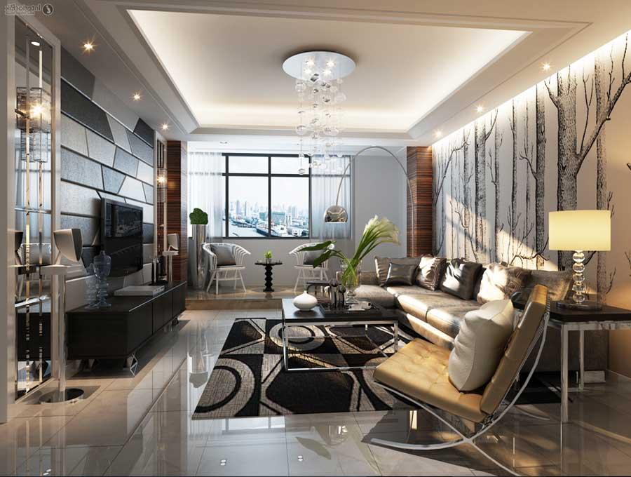 Tapeten Für Wohnzimmer Mit Weißen Hochglanz Möbeln Frisch On Auf 6