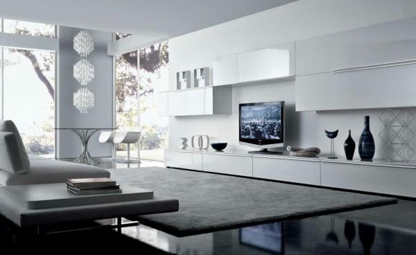 Tapeten Für Wohnzimmer Mit Weißen Hochglanz Möbeln Interessant On Auf 7