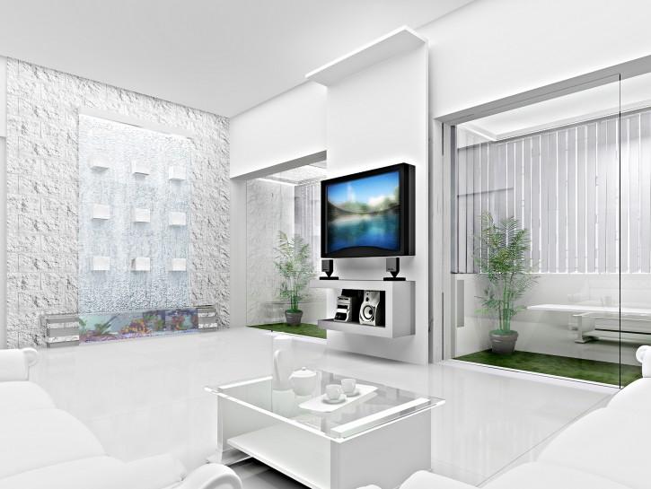 Tapeten Für Wohnzimmer Mit Weißen Hochglanz Möbeln