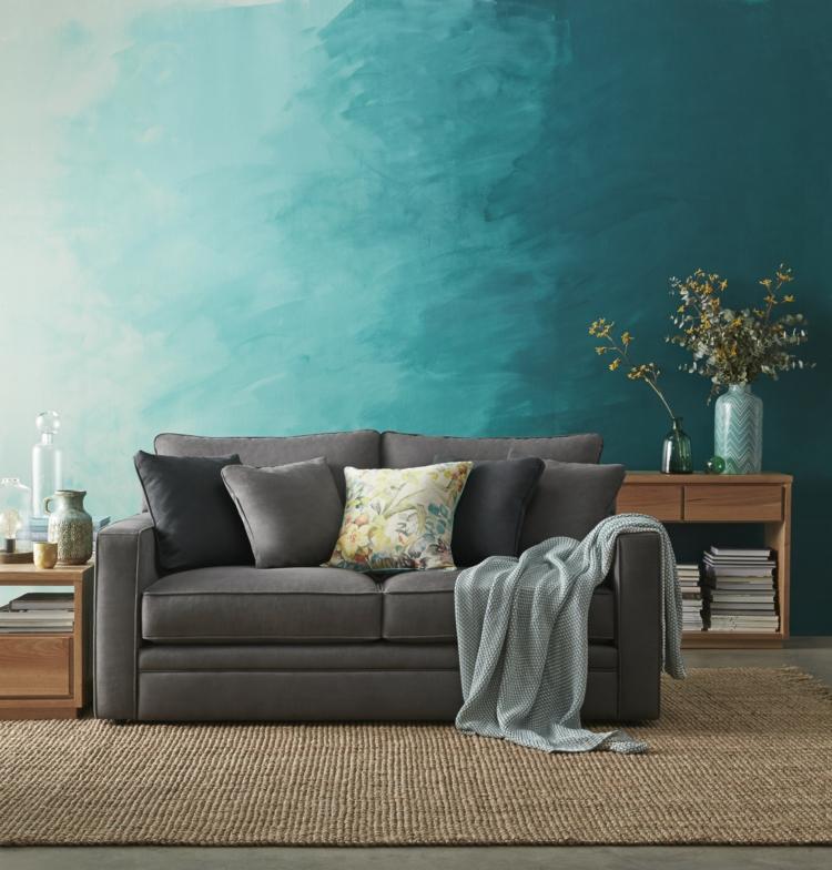Türkise Wand Imposing On Andere Auf Wohnzimmer Wandgestaltung Mit Farbe Ombre Streichen 4