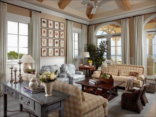 Wandgestaltung Landhausstil Wohnzimmer Einfach On Beabsichtigt Im Gestalten 55 Gemütliche Ideen 4