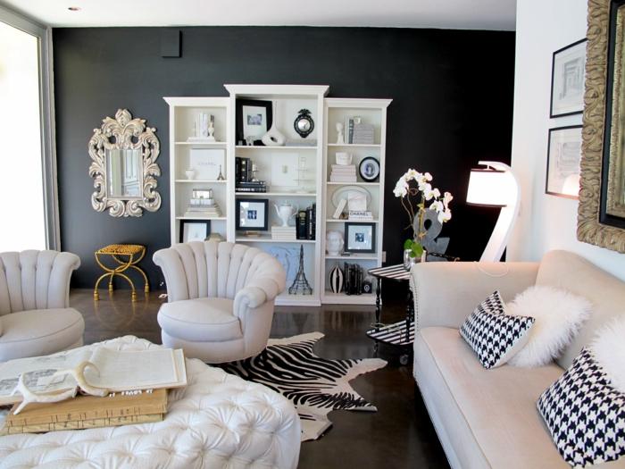 Wandgestaltung Wohnzimmer Weiße Möbel Herrlich On überall Wandfarbe Schwarz 59 Beispiele Für Gelungene Innendesigns Fresh 4