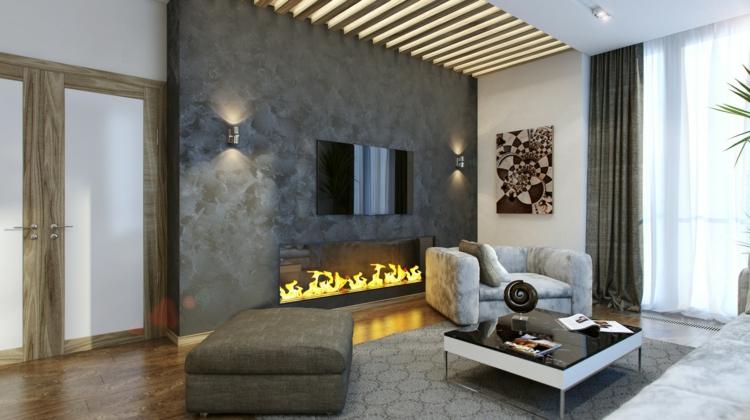 Wohnzimmer Design Modern Mit Kamin Charmant On Und Fur Glänzend Beabsichtigt 4