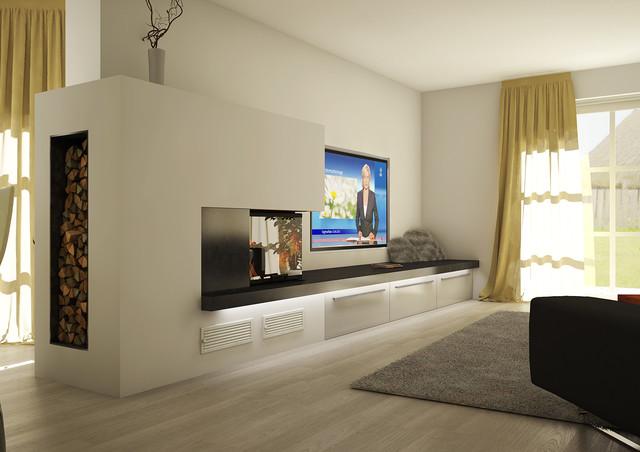 Wohnzimmer Design Modern Mit Kamin Interessant On Beabsichtigt Glänzend 3