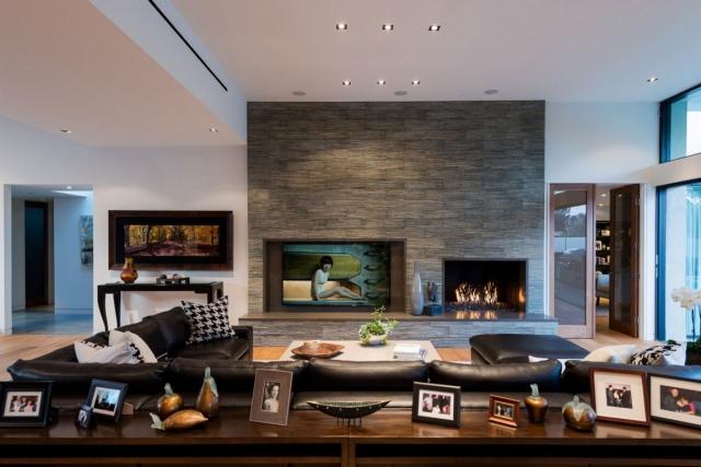 Wohnzimmer Ideen Wandgestaltung Stein