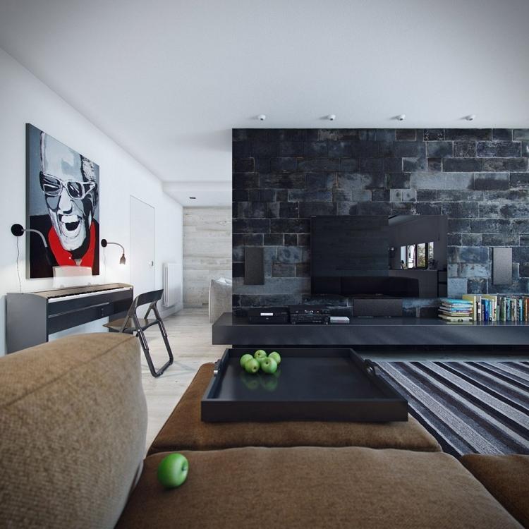 Wohnzimmer Ideen Wandgestaltung Stein Perfekt On Und Im 85 Beispiele 3