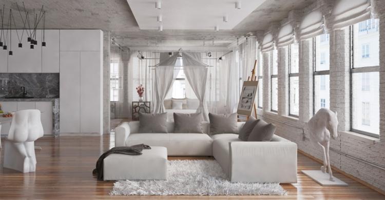 Wohnzimmer In Grau Weiss Bescheiden On überall Modern Wei 8