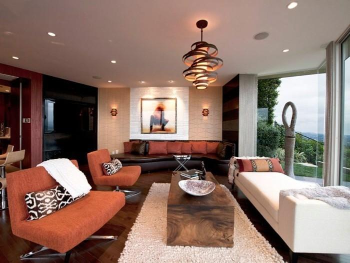 Wohnzimmer Lampen Glänzend On Mit Für Ideen Rustikaler Tisch Orange Sessel Wei C3 9