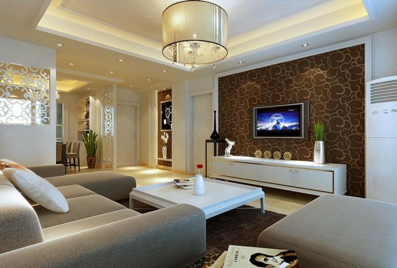 Wohnzimmer Wandfarbe Braun Bescheiden On In 31 Ideen 1