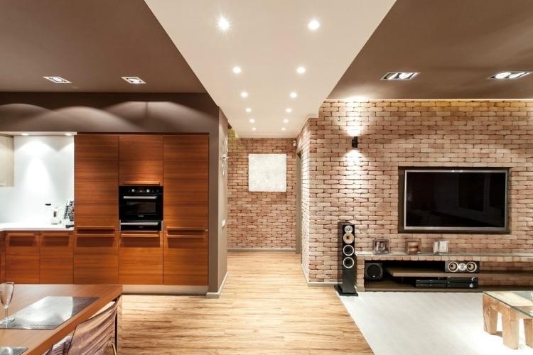 Wohnzimmerwände Modern Nett On Innerhalb Combinaci N De Ladrillo Y Madera En El Sal Pared Televisor 3