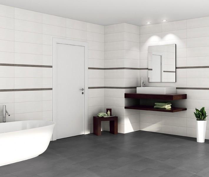 Bad Grau Weiß Gefliest Glänzend On Andere Mit Charmant Badezimmer Fliesen Modern 1