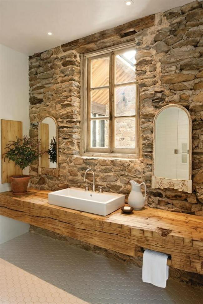 Bad Mit Holz Kreativ On Andere In Bezug Auf Badezimmer Waschbecken Steinwand Rustikale Einrichtung Nice 2
