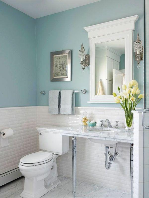 Bad Wand Farbe Bemerkenswert On Andere überall Fliesenfarbe Weiß Wandfarbe Blau Kleines Blaues Badezimmer 1