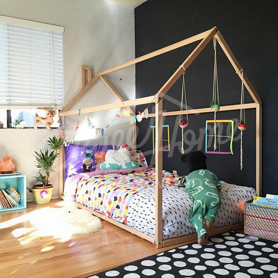 Bettzelt Erstaunlich On Andere Auf Toddler Bed House Tent Children Wooden 8
