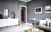 Blaue Wandfarbe Graue Möbel