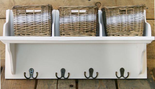 Coat Hooks With Storage Einzigartig On Andere überall White Wood 3 Natural Wicker Baskets Hallway 2