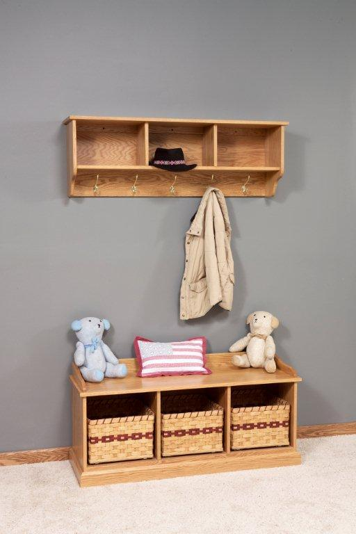 Coat Hooks With Storage Interessant On Andere In Bezug Auf Amish Traditional Hanging Wall Shelf And 8