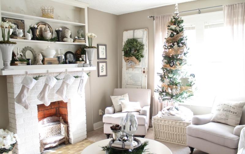 Dekorieren Weiss Stilvoll On Andere Auf Wohnzimmer Zu Weihnachten 35 Inspirationen 5