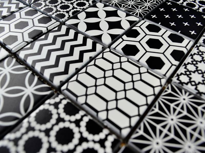 Fliesen Schwarz Weiß Zeitgenössisch On Andere Mit GLASMOSAIK FLIESEN Patchwork Black Weiss Mosaic Outlet 2