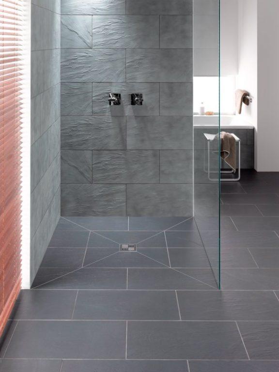 Graue Fliesen Schön On Andere Mit Bodenebene Duschsysteme Glaswände Und 9
