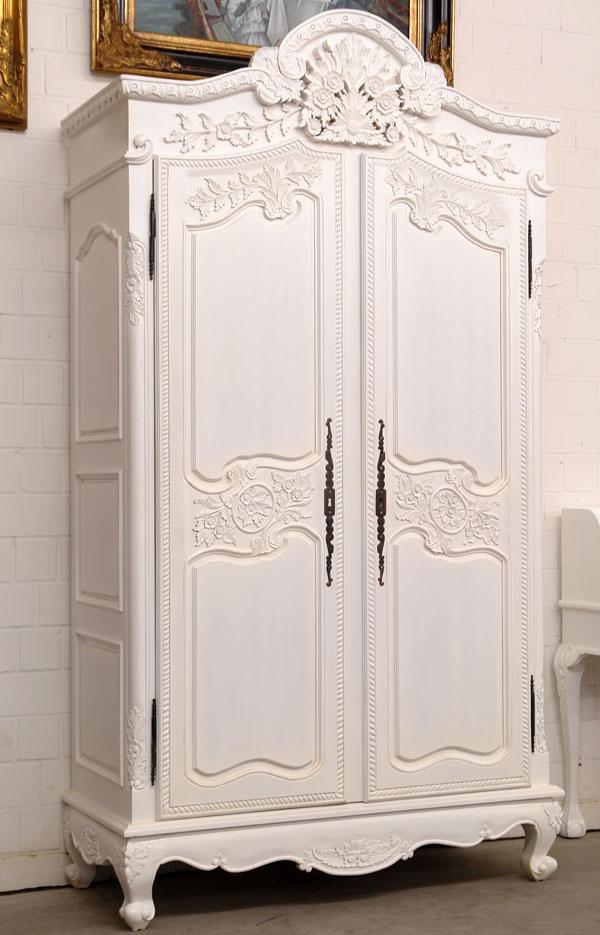 Kleiderschrank Massivholz Antik Weiß