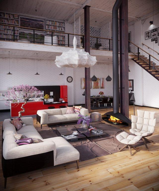 Loft Einrichten Beispiele Kreativ On Andere In Bezug Auf Einrichtung Hohe Decke Holzboden Hängender Kamin Rote Küche 3