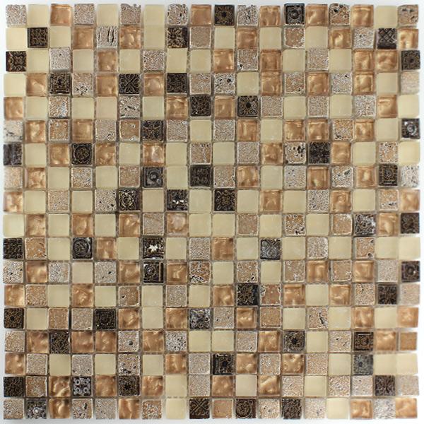 Mosaik Fliesen Einfach On Andere überall Glas Naturstein Braun Beige Mix HT88164m 1