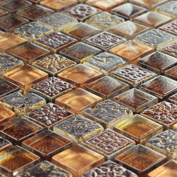 Mosaik Fliesen Herrlich On Andere überall Glas Marmor Braun Gold Mix HT88165m 8