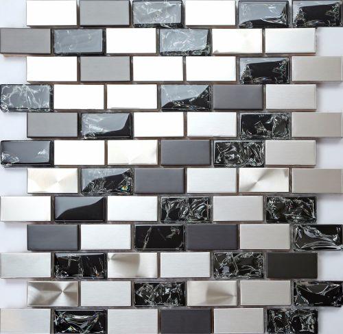 Mosaik Fliesen Modern On Andere überall 30x30cm Edelstahl Und Gebrochener Glas Optik Matte 6