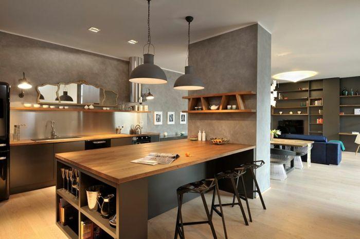 Offene Küche Mit Theke Interessant On Andere Auf Wohnzimmer Abtrennen Spiegel 3