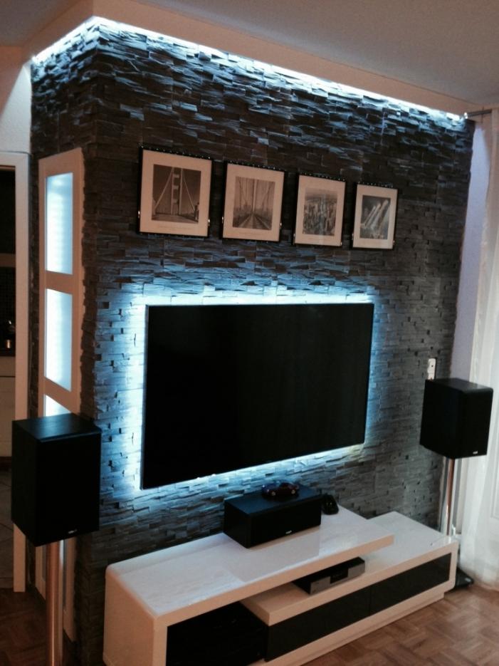 Steinwand Nett On Andere Und Uncategorized Cool Wohnzimmer Tv Deko 6