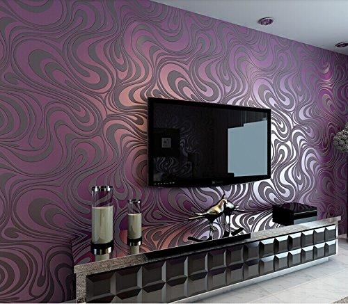 Tapeten Lila Farbe Wandgestaltung Herrlich On Andere In Bezug Auf QIHANG Moderne Luxus Abstrakte Kurve 3d Tapete Rolle Beflockung 5