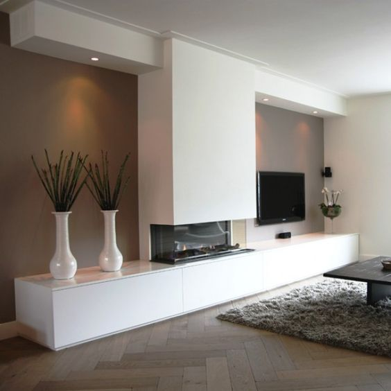 Tv Mit Kamin Imposing On Andere Ingewerkte Schouw Interior Design Pinterest Open 6