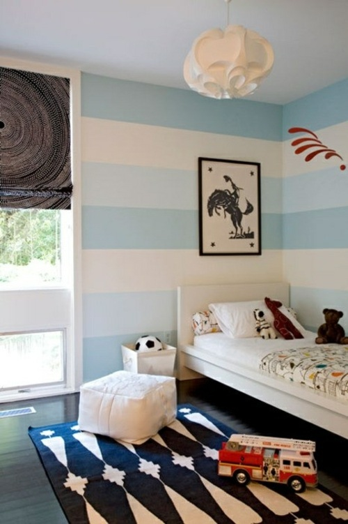 Vorschläge Kinderzimmer Streichen Charmant On Andere Und Streifen Wand Deko Idee Weiß Blau Junge Krümel 2
