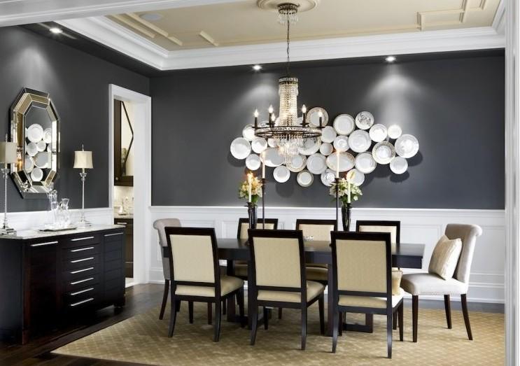 Wände Esszimmer Erstaunlich On Andere In Bezug Auf Schwarze Und Kreative Wandgestaltung Mit Weißen Schalen Für 2