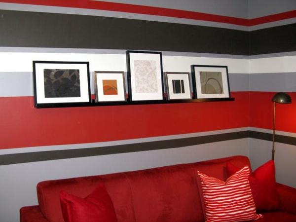 Wandgestaltung Streifen Perfekt On Andere Mit Wohnzimmer Rot Wohndesign 4